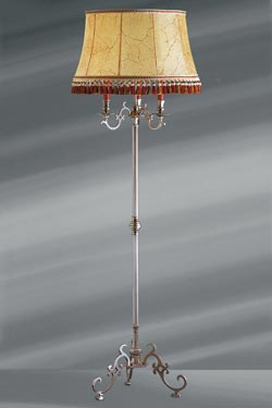 Louis XIII matt pewter floor lamp with lampshade bladder and tripod. Lucien Gau.