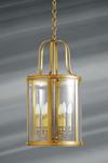 Grande lanterne de style classique en bronze massif et verre bombé. Lucien Gau.