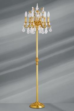 Lampadaire bronze dor et cristal de boh me louis xv lucien gau luminaires - Lampadaire plusieurs branches ...