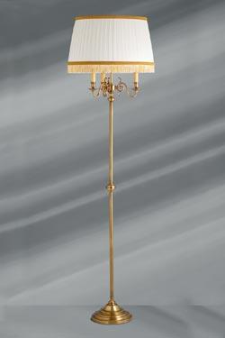 Lampadaire laiton patiné abat jour plissé style hollandais. Lucien Gau.