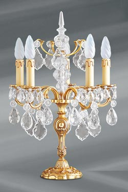 Lampe chandelier Louis XV bronze massif doré et cristal 5 lumières. Lucien Gau.