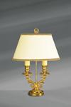 Lampe dorée double chandelier Louis XVI. Lucien Gau.
