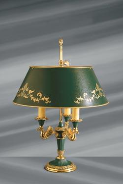 Lampe en bronze massif de style Empire, abat jour et éléments en métal laqué. Lucien Gau.