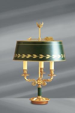 Lampe en bronze massif de style Empire, abat-jour et pied laqué vert . Lucien Gau.