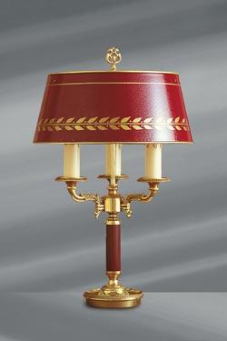 Lampe en bronze massif de style Empire, abat-jour laqué bordeaux. Lucien Gau.