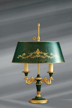 Lampe en bronze massif de style Empire, deux lumières, abat-jour et éléments laqués. Lucien Gau.