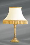 Lampe Louis XVI en bronze doré avec abat-jour blanc bordé de galons et pompons. Lucien Gau.