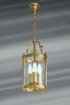 Lanterne classique en verre et bronze trois lumières. Lucien Gau.