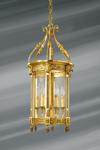 Lanterne de style classique en verre et bronze massif à six lumières . Lucien Gau.