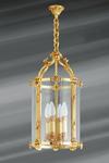 Lanterne de style Louis XVI en bronze doré et verre. Lucien Gau.