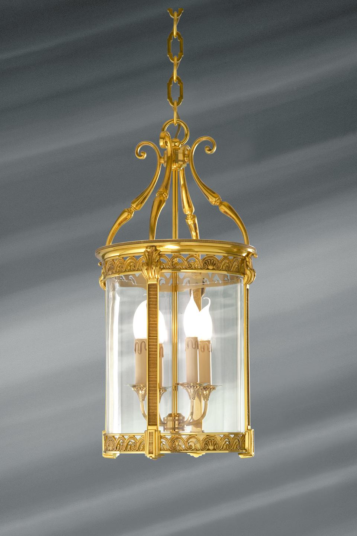 lanterne en verre et bronze massif travaill de style. Black Bedroom Furniture Sets. Home Design Ideas