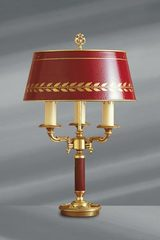 Empire style solid bronze lamp, bordeaux lacquered lampshade. Lucien Gau.