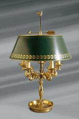 Empire style solid bronze lamp, green shade, five lights. Lucien Gau.