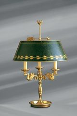 Empire style solid bronze lamp, green shade, three lights. Lucien Gau.