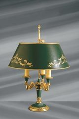 Empire style solid bronze lamp, lacquered metal lampshade and details. Lucien Gau.