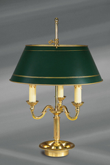 Gilded bronze lamp, Louis XVI style, green painted lampshade. Lucien Gau.