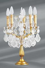 Gold candlestick shape girandole with bohemian crystal and 5 lights. Lucien Gau.