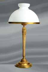 Large lamp Louis XVI style with opal glass and curved lampshade. Lucien Gau.