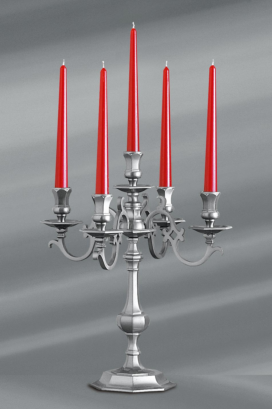 Louis XIII candlestick matt pewter 5-lights table lamp . Lucien Gau.