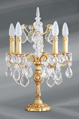 Louis XV candlestick lamp solid gilt bronze and crystal 5 lights. Lucien Gau.