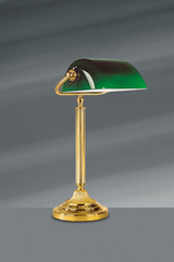Louis XVI style desk lamp in bright gold bronze. Lucien Gau.