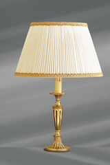 Louis XVI style lamp in solid gilt bronze with large pleated white shades with egdging. Lucien Gau.