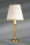 Small Louis XVI gilded bronze lamp, pleated white lampshade decorated with stripes. Lucien Gau.