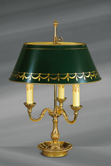 Solid bronze lamp Louis XVI style, three lights, with green and gold painted bronze lampshade. Lucien Gau.