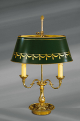Solid bronze lamp Louis XVI style, two lights, with oval lampshade painted in green. Lucien Gau.