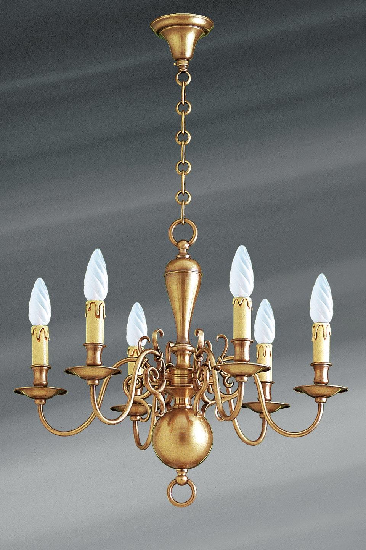 lustre style hollandais laiton six lumi res lucien gau. Black Bedroom Furniture Sets. Home Design Ideas