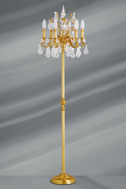 Lampadaire bronze dor et cristal de boh me louis xv - Lampadaire branches ...