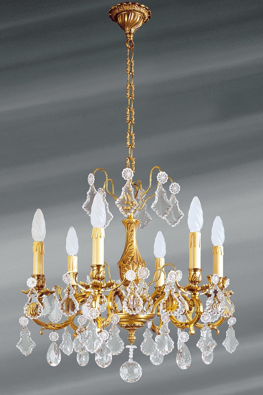 lustre louis xv cristal de boh me six lumi res lucien gau luminaires classiques de prestige. Black Bedroom Furniture Sets. Home Design Ideas