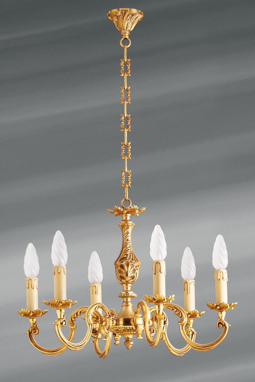 Lustre bronze Louis XV six lumières. Lucien Gau.