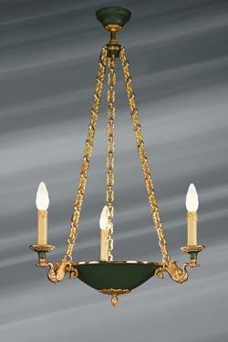 Lustre de style Empire en forme de vasque évasée et laquée, trois lumières. Lucien Gau.