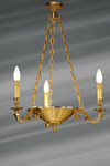 Lustre de style Louis XVI en forme de coupe suspendue, bronze massif . Lucien Gau.
