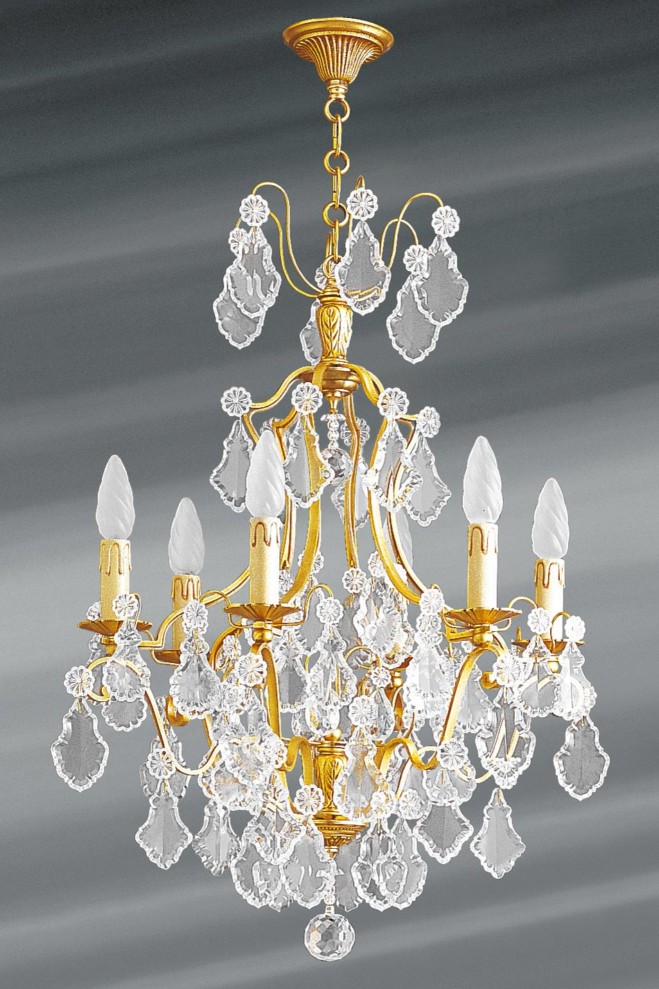 lustre dor cristal de boh me 6 lumi res louis xv lucien gau luminaires classiques de. Black Bedroom Furniture Sets. Home Design Ideas