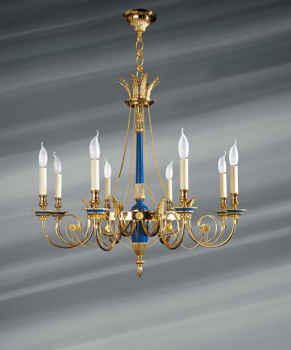 Lustre doré et bleu roi de style Directoire, en bronze massif. Lucien Gau.