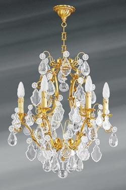 Lustre doré Louis XV cristal de bohème six lumières. Lucien Gau.