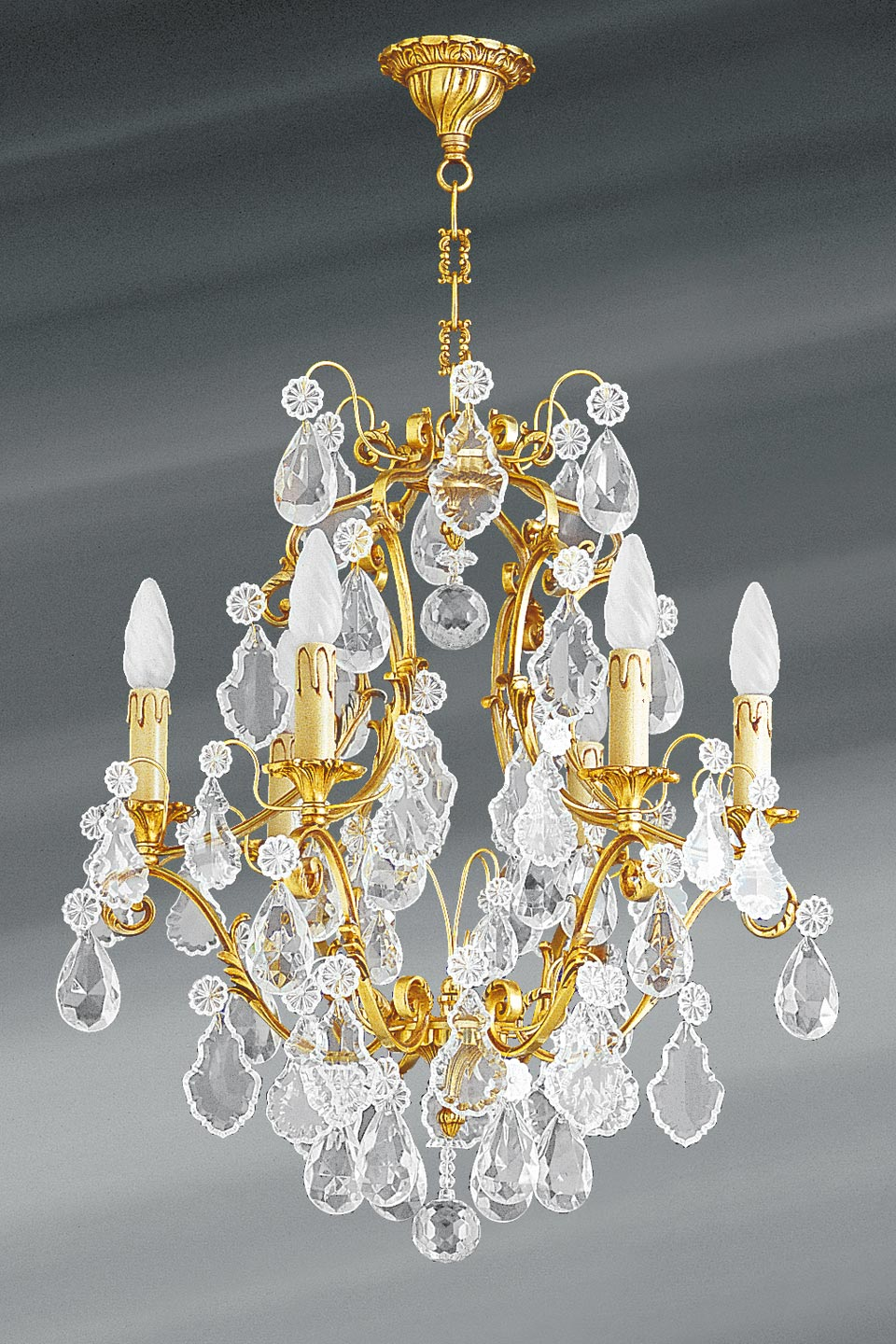 lustre dor louis xv cristal de boh me six lumi res lucien gau luminaires classiques de. Black Bedroom Furniture Sets. Home Design Ideas
