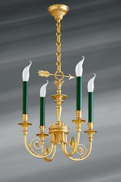 Lustre doré style Directoire en bronze massif, quatre lumières. Lucien Gau.