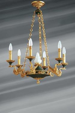 Lustre doré style Empire en bronze massif finition vieil or et vert impérial. Lucien Gau.