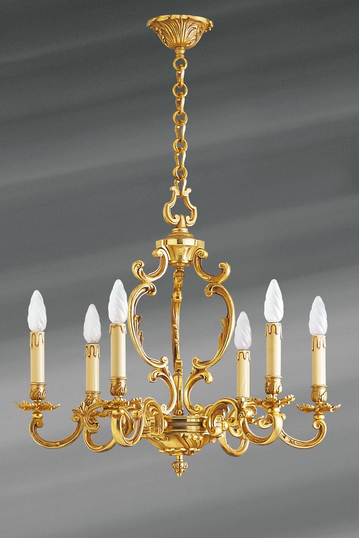 lustre en bronze dor louis xv six lumi res lucien gau. Black Bedroom Furniture Sets. Home Design Ideas