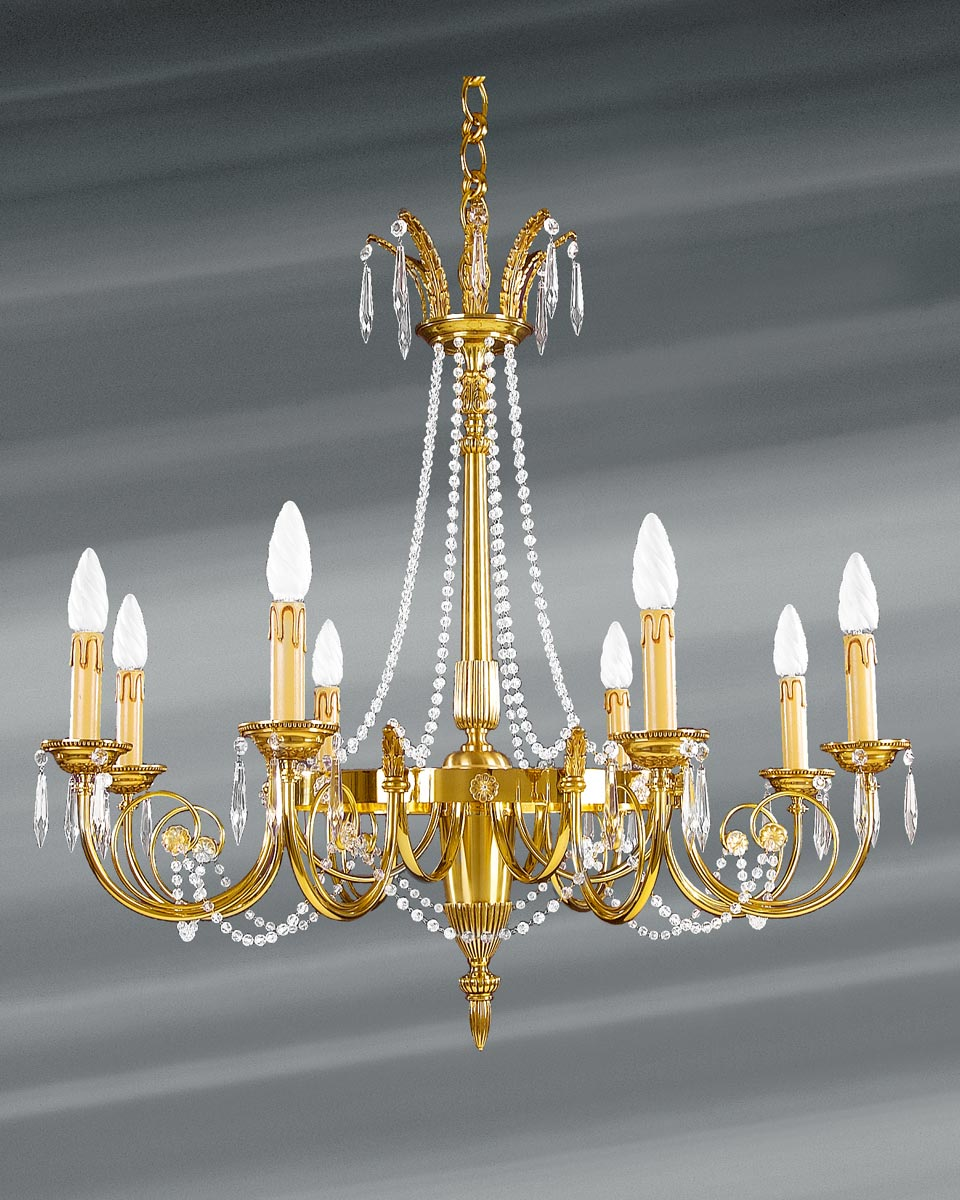lustre louis xvi dor cristal de boh me en perles huit lumi res lucien gau luminaires. Black Bedroom Furniture Sets. Home Design Ideas