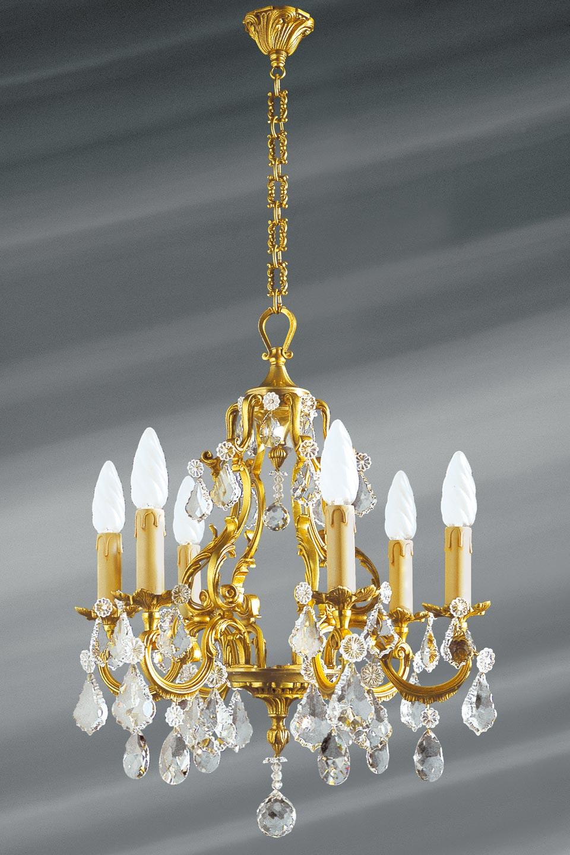 Lustre pampilles en cristal de bohème Louis XV six lumières. Lucien Gau.