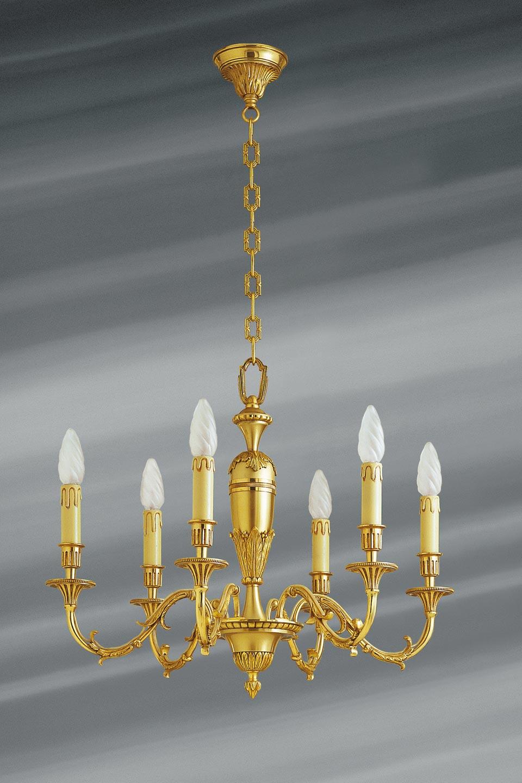 Lustre style Louis XIV, en bronze massif à six lumières. Lucien Gau.