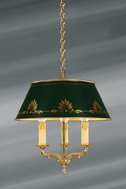 Petit lustre en bronze massif de style Empire, finition or vif. Lucien Gau.