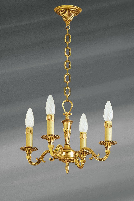 Petit lustre, Louis XVI, en bronze doré, quatre lumières. Lucien Gau.