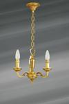 Petit lustre trois lumières de style Louis XVI en bronze massif doré. Lucien Gau.