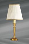 Petite lampe Louis XVI en bronze doré, abat-jour blanc plissé orné de galons . Lucien Gau.