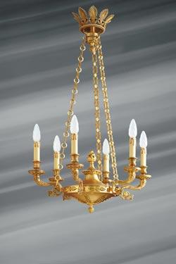 Superbe lustre de style Empire, en bronze massif, six lumières. Lucien Gau.